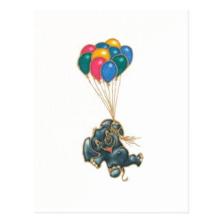 Elefant und Ballone Postkarte