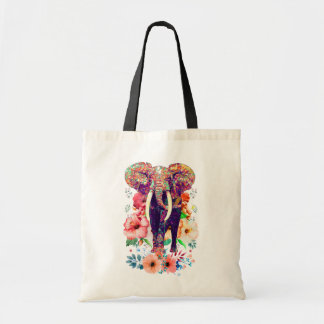 Elefant- und Blumen-Taschentasche Tragetasche