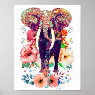Elefant- und Blumenplakat Poster