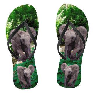 Elefant und Dschungel Flip Flops