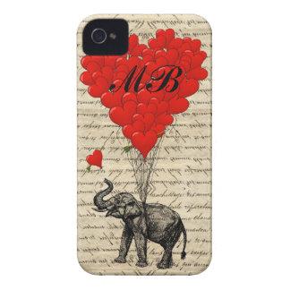 Elefant- und Herzballon mit Monogramm iPhone 4 Etuis