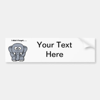 Elefant vergaß nicht Cartoon Autoaufkleber
