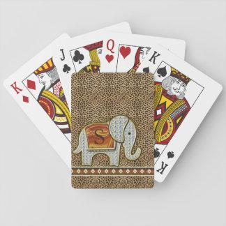 Elefant-Weg-Monogramm-Gepard ID390 Spielkarten
