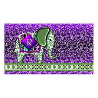 Elefant-Weg-Monogramm-lila Wirbel Visitenkartenvorlage