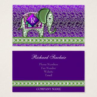 Elefant-Weg-Monogramm-lila Wirbel Visitenkarte
