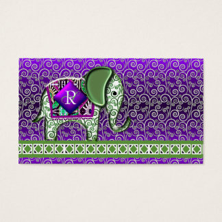 Elefant-Weg-Monogramm-lila Wirbel Visitenkarten