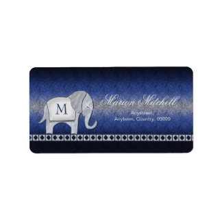Elefant-Weg-Monogramm-Silber/blaues ID390 Adressaufkleber