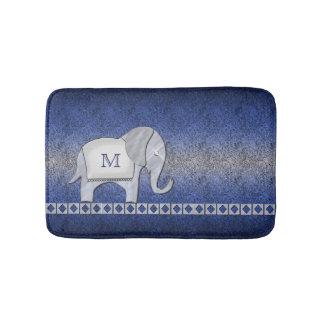 Elefant-Weg-Monogramm-Silber/blaues ID390 Badematte