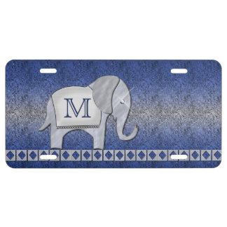 Elefant-Weg-Monogramm-Silber/blaues ID390 US Nummernschild