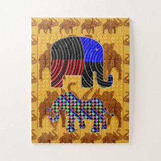 Elefant-wilde Haustier-Tier-Zoo-KinderCartoons Puzzle