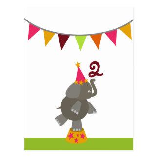 Elefant + Zirkus kennzeichnet Postkarte