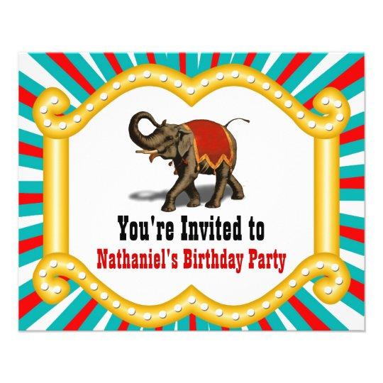 Elefant Zirkus Kindergeburtstag Party Einladung Flyer