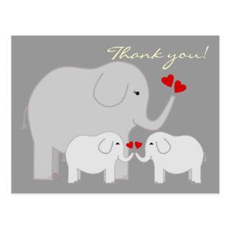 Elefanten im Grau danken Ihnen Postkarte