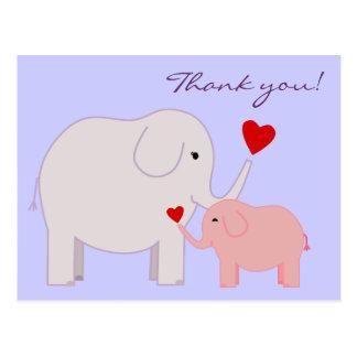 Elefanten im Rosa danken Ihnen Postkarte