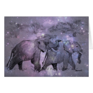 Elefanten im Winter kundengerecht Karte