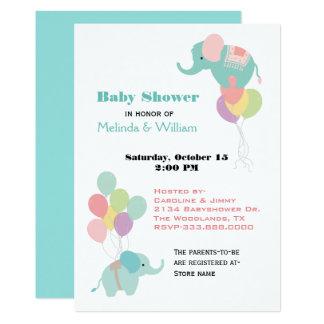 Elefanten Und Ballon Babyparty Einladung Karte