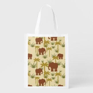 Elefanten und Palmen in der Tarnung Wiederverwendbare Einkaufstasche