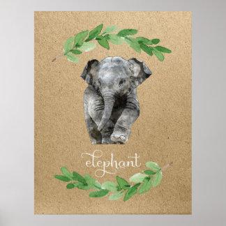 Elefantjungenraum-Kinderzimmerdruck Poster