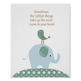 Elefantvogel-Kinderzimmerkunst Poster