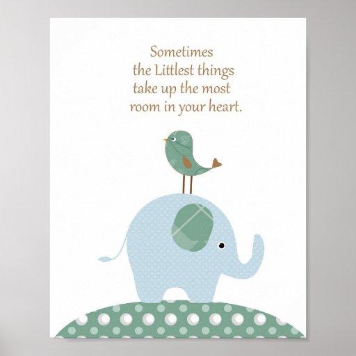 Elefantvogel-Kinderzimmerkunst Plakatdruck