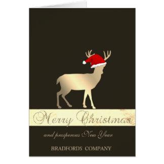 Elegant Black, Christmas Deer Santa Hat, Company Karte