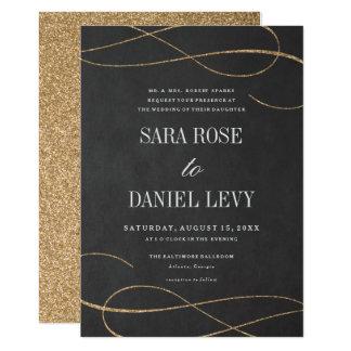 Elegant blühen Sie GoldImitat, Glitter, 12,7 X 17,8 Cm Einladungskarte