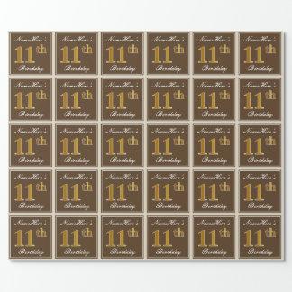 Elegant, Brown, Imitat-Gold11. Geburtstag + Name Geschenkpapier