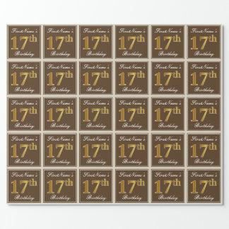 Elegant, Brown, Imitat-Gold17. Geburtstag + Name Geschenkpapier