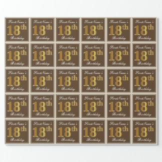 Elegant, Brown, Imitat-Gold18. Geburtstag + Name Geschenkpapier