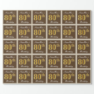 Elegant, Brown, Imitat-Gold80. Geburtstag + Name Geschenkpapier