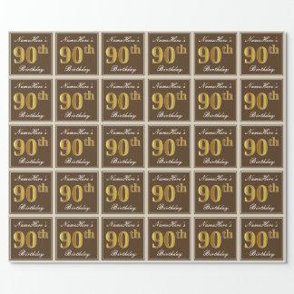 Elegant, Brown, Imitat-Gold90. Geburtstag + Name Geschenkpapier