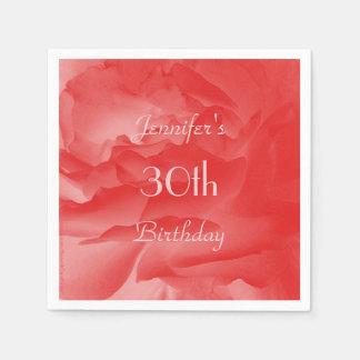 Elegant, Chic-korallenrote rosa Rose, 30. Serviette
