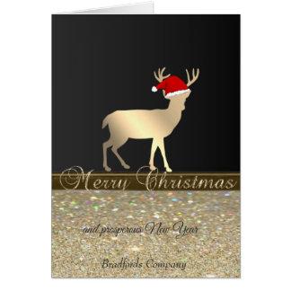 Elegant, Christmas Deer Santa Hat, Glittery, Karte