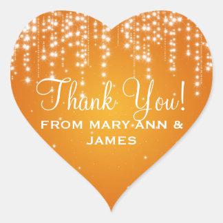 Elegant danke, blenden Nacht Orange Herz Sticker