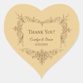 Elegant danke verbindet kundenspezifische Texte Herz-Aufkleber