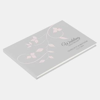 Elegant erröten rosa u. graue Rebe-Hochzeit Gästebuch