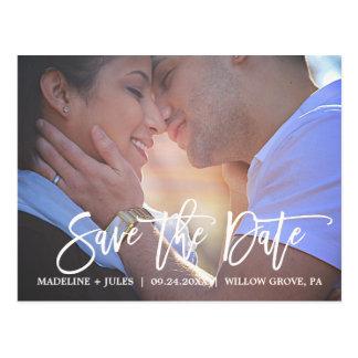 Elegant erröten Rosa und Marine-Save the Date Foto Postkarte