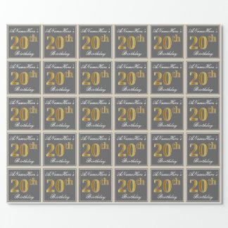 Elegant, grau, Imitat-Gold20. Geburtstag + Name Geschenkpapier