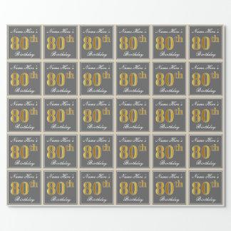 Elegant, grau, Imitat-Gold80. Geburtstag + Name Geschenkpapier