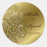 Elegant Green Boho Spirals Gold Wedding Stickers
