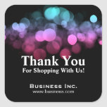 Elegant Lights Business Thank You Pink Blue Square Sticker