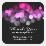 Elegant Lights Business Thank You Pink Sticker