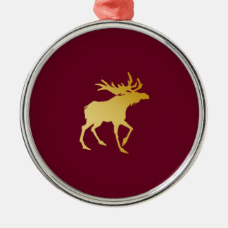 Elegant luxuriöse Goldgeweih-Rotwild Silbernes Ornament