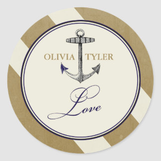 Elegant Nautical Navy & Gold Love Sticker