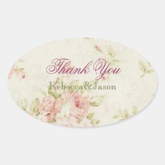 elegant Pink  rose Floral vintage  wedding Oval Stickers