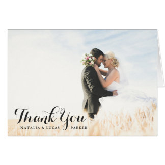 Elegant Scripted Foto-Hochzeit danken Ihnen | Mitteilungskarte