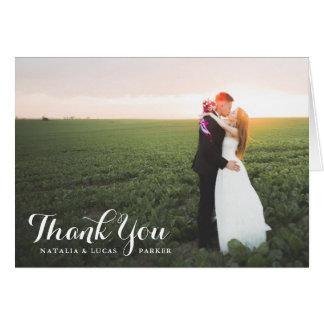 Elegant Scripted Foto-Hochzeit danken Ihnen | Weiß Mitteilungskarte