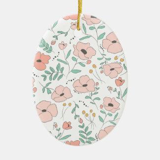 Elegant seamless pattern with flowers, Vektor, Ovales Keramik Ornament