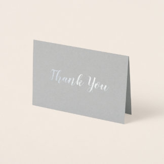 Elegant Silver on Grey Bridal Wedding Thank You