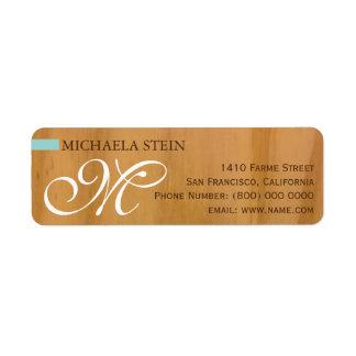 elegant u. mit Monogramm, Holz Rückversand-Adressaufkleber
